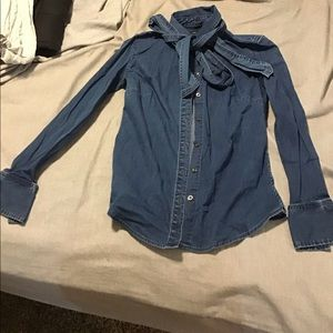 Banana republic bow denim top